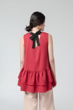 Red Ming Peplum Top