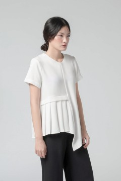 White Pleated Anja Top