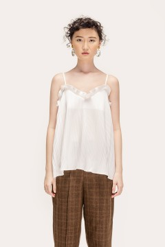 White Pleated Tank