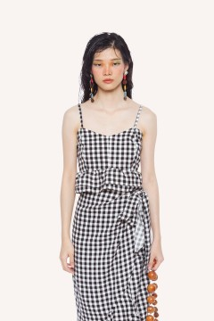 Checked Costa Cropped Top