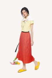 Coral Pleated Skirt