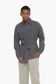 Cheked Grey Utility Shirt