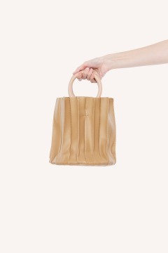 Creme Bucket Pleated Bag