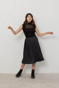 Black Pleats Ixon Skirt