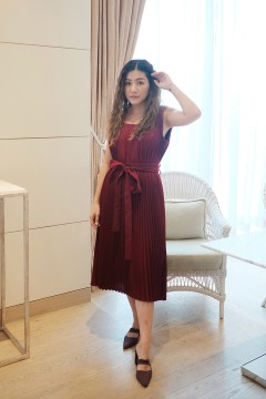 Maroon Pleated Mulan PO