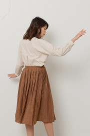 Brown Pleats Ixon Skirt