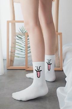 White Emoticon Socks