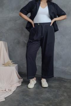 Black Stitched Audrey Pants