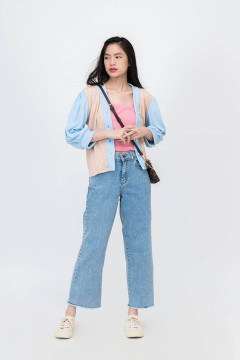 Denim Calla Knitted Top Outer