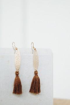 Brown Ara Tassel Earrings