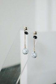 White Kura Marble Earrings