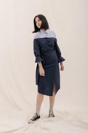 Navy Harumi Sabrina Dress