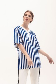 Navy Stipes Collage Shirt