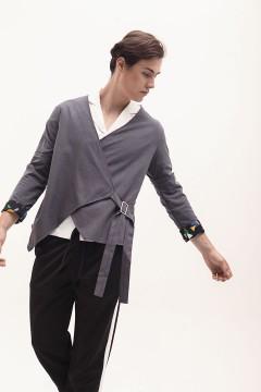 Dark Grey Buckled Kimono