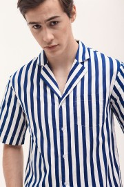 Navy Stripes Baseball Shirt