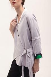Soft Grey Buckled Kimono