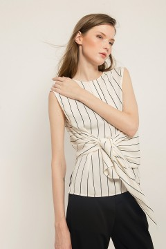 White Stripes Tied Top