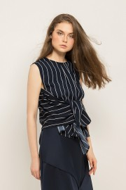 Navy Stripes Tied Top