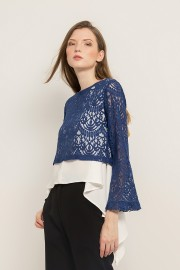 Blue Zoe Lace Top