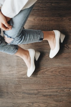 White Blocked Heels