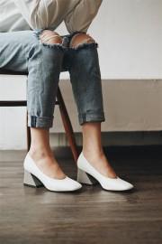 White Blocked Heels