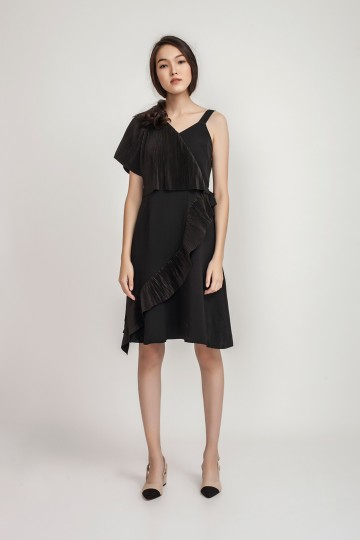 Black Peggy Pleated Dress
