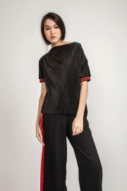 Black Marie Pleated Top