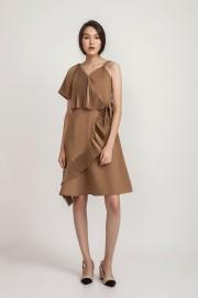 Latte Peggy Pleated Dress