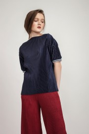 Navy Marie Pleated Top