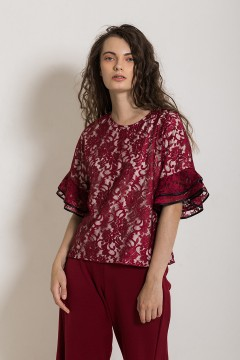 Red Wine Lace Top