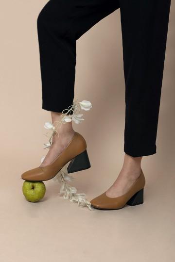 Brown Blocked Heels