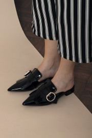 Black Ruffled Mules
