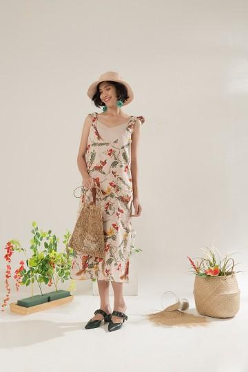 Creme Blumen Dress