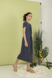 Navy Phoebe Twisted Dress