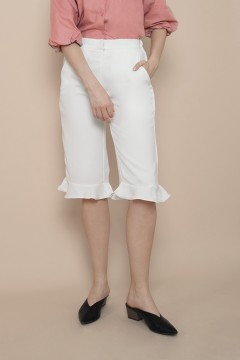 White Ruffles Culottes