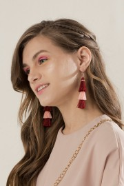 Maroon Triplet Earrings