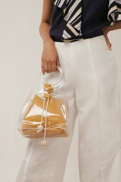 Yellow Vinyl Bucket Bag