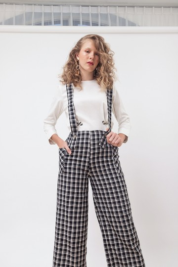 Checked Dungaree Pants