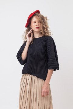 Black Louise Pleated Top
