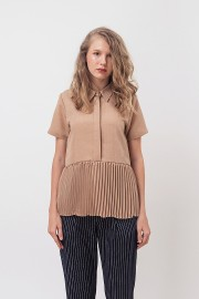 Caramel Pleated Shirt